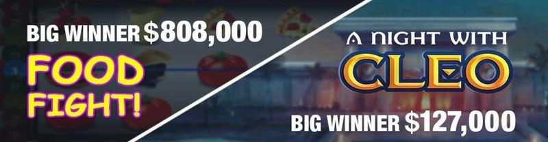 Two Jackpot  Winnings on Food Fighter / A Night with Cleo
