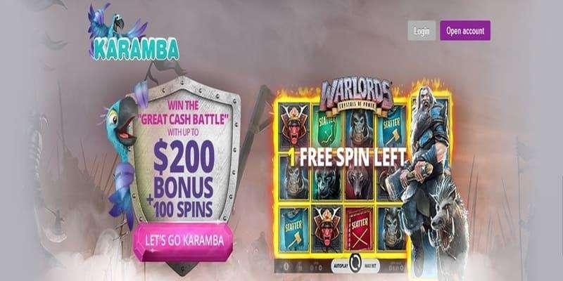 Karamba Casino Welcom Bonus – up to €200 & 100 Spins