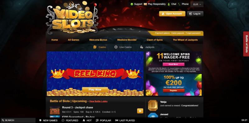 VideoSlots Casino Website