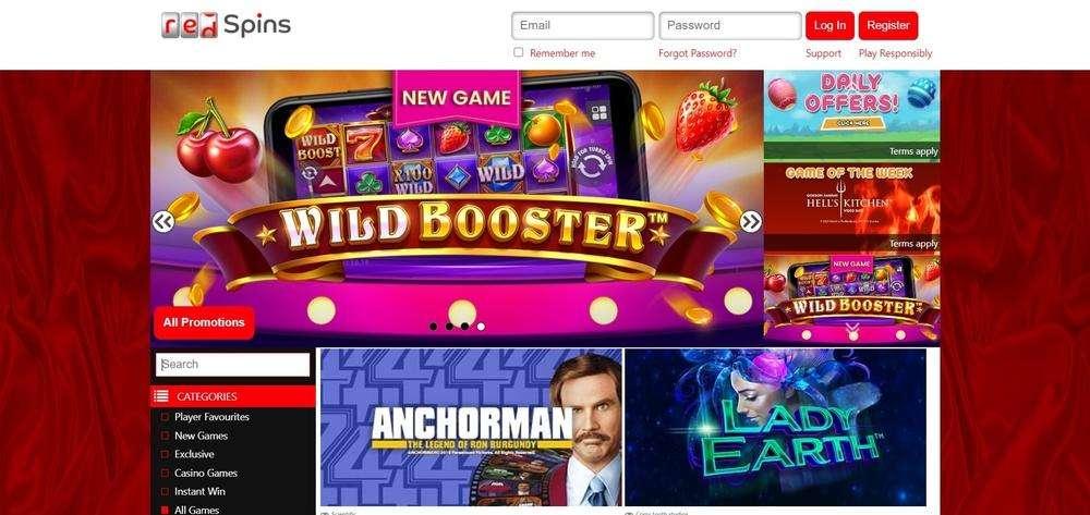 Red Spins Casino Website