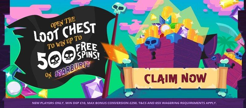 500 Free Spins on Starburst & Fluffy Favourites at Pirate Slots