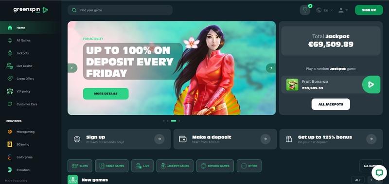Green Spin Casino Website