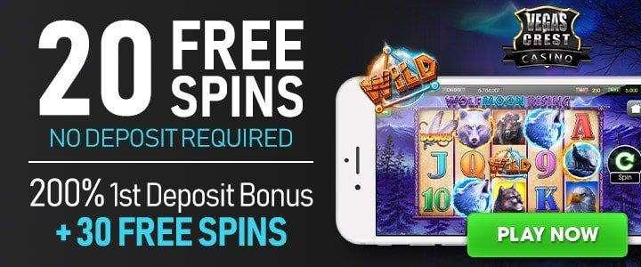 Vegas Crest 20 Free Spins No Deposit Bonus on the  Wolf Moon Rising Slot