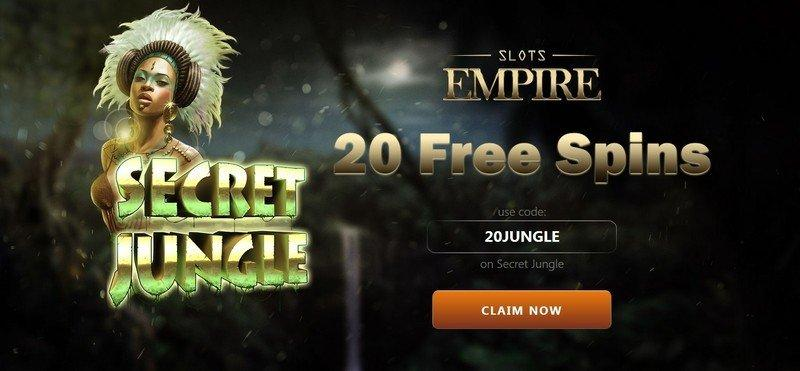 Slots Empire Casino Offers 20 Free Spins on the Secret Jungle