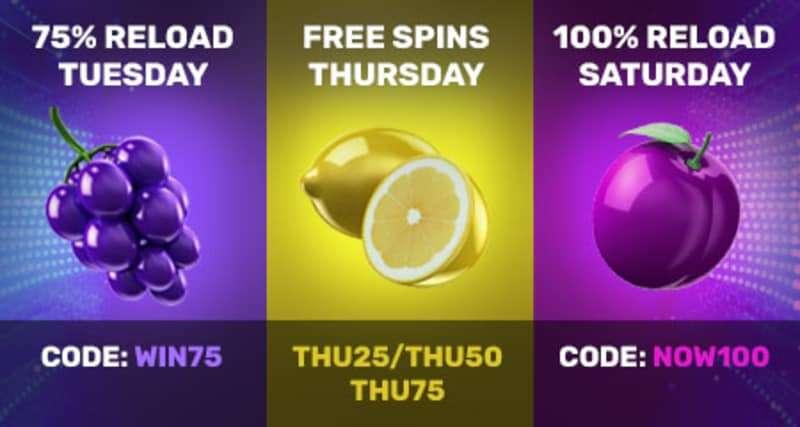75% Reload Bonus – Free Spins Thursday – 100% Reload Saturdays at Drake Casino