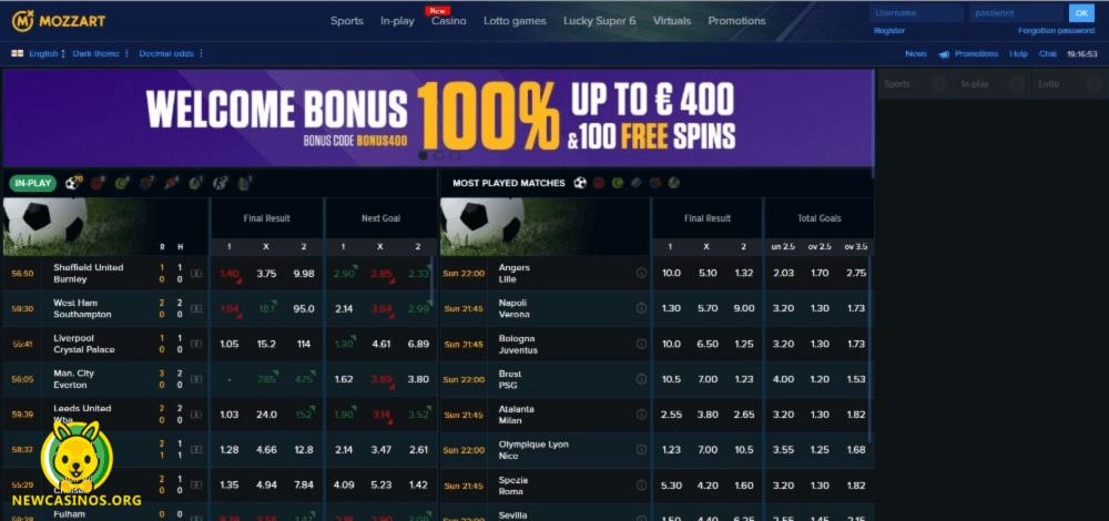 Mozzart Casino Website