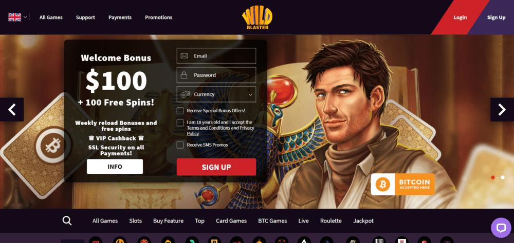 WildBlaster Casino Website
